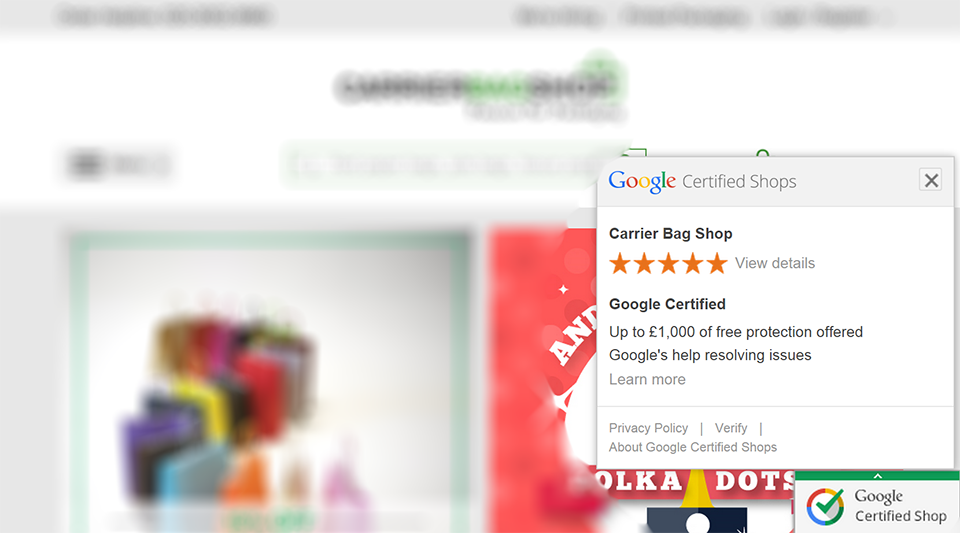 Carrier Bag Shop is a Google Certified Shop